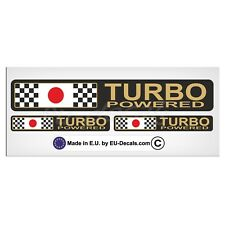 Set Turbo Powered Japan flag Gold letters Laminated Decal Sticker Subaru wrx sti