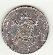 NAPOLEON III TETE NUE RARE Tquasi  TTB 5 FRANCS 1855 BB cote 200 euro TTB