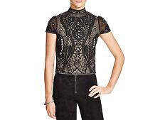ALICE and OLIVIA Viktoria Embroidered Ladies Blouse Ladies black sparkly top