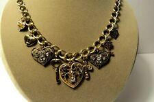 Heart Charm Necklace Gold Tone Chain Cross Key Rhinestones