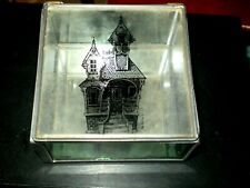 Glass and Brass What-Not Box with Hinged Lid Old House Imprint