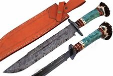 Damascus steel BLADE HUGE,MASSIVE BOWIE KNIFE DYED COLOUR BONE &STAG HORN HANDLE