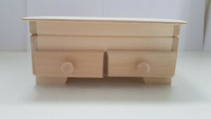 Dressing table with two drawers Lid Unpainted Wooden Chest