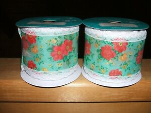 The Pioneer Woman Set of 2 Christmas Ribbon Vintage Floral New 3 IN X 21 FT HTF