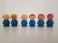 Toy Little People Vintage Fisher Price Lot of 6 Blue Girls