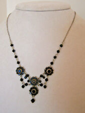 Liz Palacios Antique Silver Chain Necklace with Black Swarovski Crystal Flowers