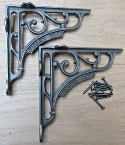 "7"" PAIR OF SINGER CORP cast iron ornate shelf support wall brackets"