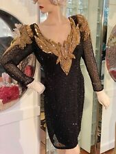 VTG BEADED SILK COCKTAIL DRESS BLACK GOLD WEDDING 8  MOTHER OF BRIDE DIVA