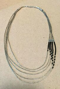 Vintage Native American Sterling Liquid Silver Black Onyx Heishi Necklace Navajo