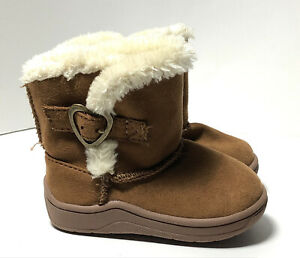 Toddler Girl Boots Caramel Brown Faux Suede With Fur Trim Size 3 By Garanimals