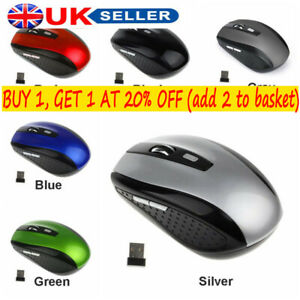 USB Dongle 2.4GHZ Wireless Mouse Cordless Optical Scroll Mouse PC Laptop UK