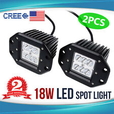 2x 18W CREE LED Flush Mount Light Bar Spot Work Offroad Motorcycle 4WD Truck