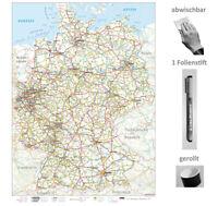 XXL Deutschlandkarte ( Ausgabe 2019) nass abwischbar + 1 Stift, stabil, gerollt