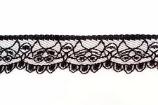 270 metres × 25mm Wide, Black Scalloped Lace Trim Wholesale (935)
