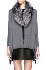 Alice + Olivia Izzy Fox Fur Collar Cascade Cardigan Wool Cashemere Gray Size M