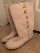UGG Boots Size 7 Natural Color Cloth With Sheepskin Inner Soles NEW