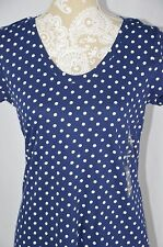Style&Co. Sport Womens Small Blue White Polka Dot NEW T-Shirt Scoop Neck Shirt