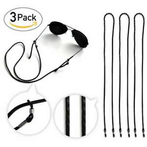 3Pcs 25'' Black Sunglasses Chain Strap Cord Holder Neck Eyeglass Lanyard