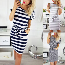 Womens Short Sleeve Bodycon Midi Dress Round Neck Stripe Lace Up Summer Dress