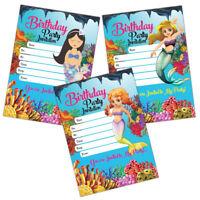 Mermaid Invitations | 20 Birthday Party Invite Cards | Kids, Children, Girls