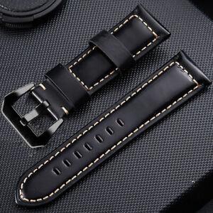 Watch Bands Cowhide Genuine Leather Wristwatch Straps Watch Parts 24mm Black