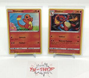 Pokemon Glumanda/Glutexo SET Non-Holo 023/024/185 - Farbenschock - NM