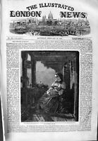 Original Old Antique Print 1859 Family Home Mountaineer Lady Baby Fine Art 19th