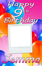 PERSONALISED BIRTHDAY DOOR BANNER WITH PHOTO- ANY AGE/NAME -MULTI PINK