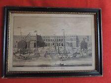 Antique 18th century English Print in Hogarth Frame The Custom House City London