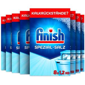 FINISCH Entkalker 8 x 1,2 kg Spülmaschinen-Salz gegen Kalk und Wasserflecken