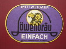 MITTWEIDA Löwenbräu Actien-Bierbrauerei VK Bieretikett