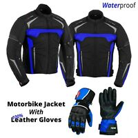 New Motorcycle Cordura Textile Jacket with Leather Gloves Blue Armour Protection