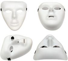 6 x PLAIN WHITE MATT PLASTIC FACE MASK PAINTABLE HALLOWEEN MASQUERADE BALL QR15