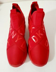 DKNY WOMEN'S RED WEDGE SNEAKERS SIZE 6