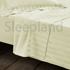 300TC 100% EGYPTIAN COTTON FITTED SHEET SATIN STRIPE 4FT IVORY 5* LUXURY