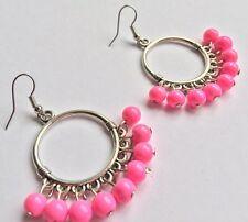 BohoCoho Quirky Boho Gypsy Festival Silver & Pink hoop dangle earrings