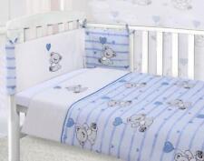 Baby Nursery Bedding Set Blue Teddy Bear Cot Quilt, Bumper & Sheet 3 Piece