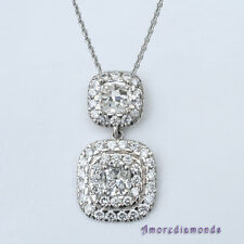 2.55 ct F VS cushion round diamond halo antique style pendant 18k white gold 16""