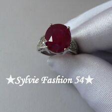 🌟 Belle bague argent 925 ciselée couleur rouge rubis et blanc T 53