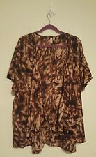 Rhonda Shear Brown/Tan Jacket Or Coverup 2X/3X