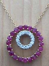 2.0ctw GENUINE RUBY DOUBLE CIRCLES PENDANT NECKLACE