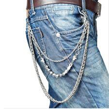 3 Layer Silver Metal Skull Biker Wallet Chain Jean Link Waist Keychain Jewelry
