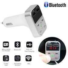 US Silver Car Wireless FM Bluetooth Transmitter MP3 Dual USB Charger Universal