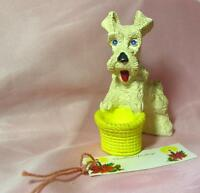 VTG 1940s XMAS CHALK CHALKWARE SCOTTIE OR WESTIE DOG CANDY CONTAINER W GIFT TAG