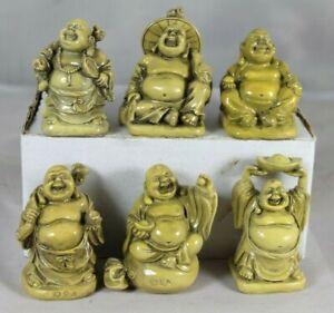 6cm HAPPY BUDDHA - SET OF 6 - SPIRITUAL COLLECTION - PROSPERITY, WISDOM, PLENTY
