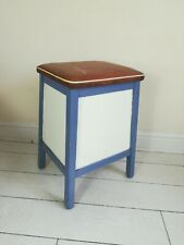 Vintage Retro Kitchen Wooden Stool Mid Century Vinyl  Storage
