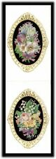 Vintage Gifted Line Victorian Bouquet Flowers Gold Border Frame Bows Stickers