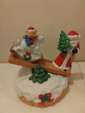 Santa with bear see saw Christmas Wind up Music Box Ceramic with movement