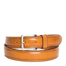 Cintura Uomo in Pelle di Vitello Spazzolato Miele 3,5cm - Made in Italy