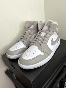 Size 9.5🔥Nike Air Jordan 1 Mid Linen Retro College Grey / Light Bone✅554724-082